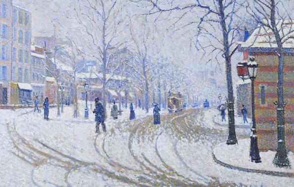 Картинка зима, картина, городской пейзаж, Поль Синьяк, Снег. Бульвар Клиши. Париж