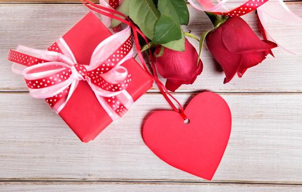 Картинка цветы, праздник, подарок, сердце, розы, день Святого Валентина