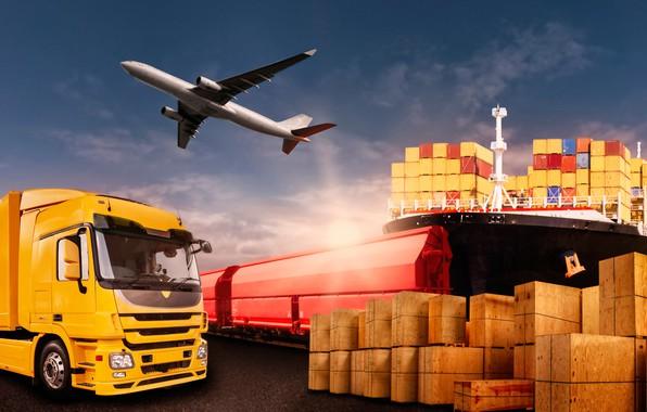 Картинка небо, красный, жёлтый, корабль, фотошоп, поезд, порт, грузовик, ящики, самолёт, контейнера