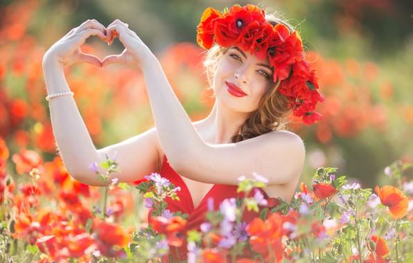 Картинка девушка, цветы, настроение, сердце, маки, руки, луг, венок