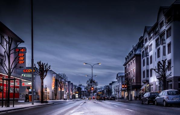 Картинка Дома, Зима, Вечер, Город, Швейцария, Улица, Дороги, Arbon