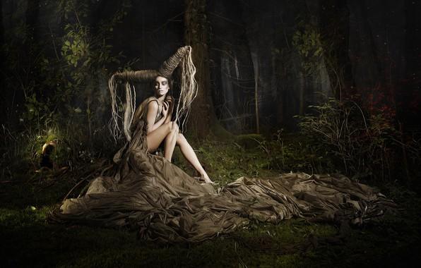 Картинка лес, девушка, поза, фантазия, ситуация, причёска, HELICOPTERS