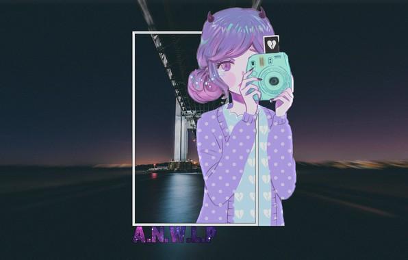Картинка девушка, ночь, мост, город, аниме, фотоаппарат, madskillz, madskillz anime