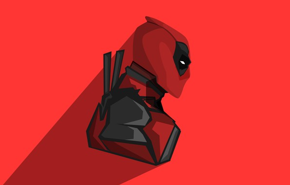 Картинка красный, фон, фантастика, тень, вектор, маска, костюм, мечи, Deadpool, Дэдпул, комикс, катаны