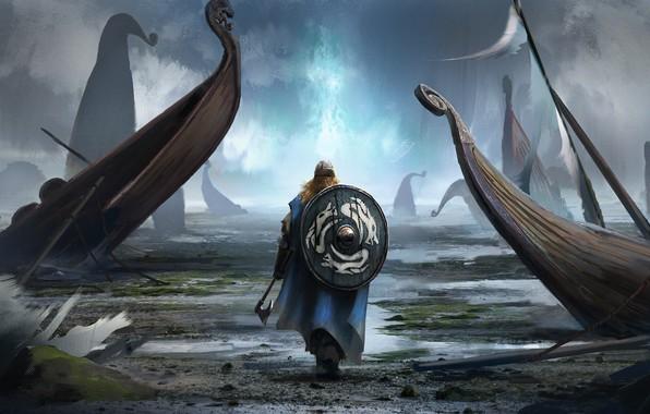 Фото обои axe, man, viking, shield, helmet, bolt, viking cataclysm