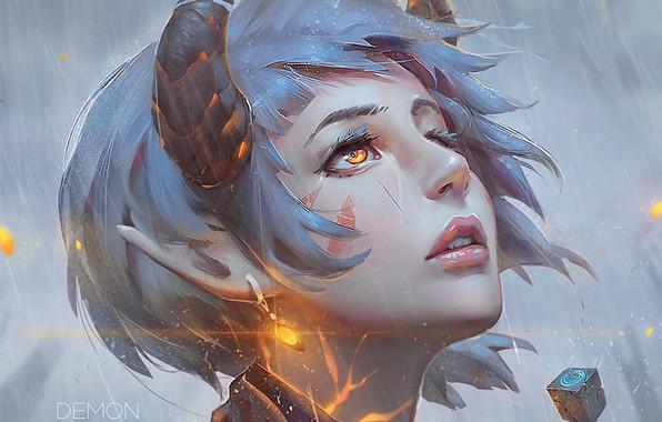Картинка сияние, серьги, фэнтези, рога, эльфийка, голубые волосы, art, желтые глаза, портрет девушки, Guweiz