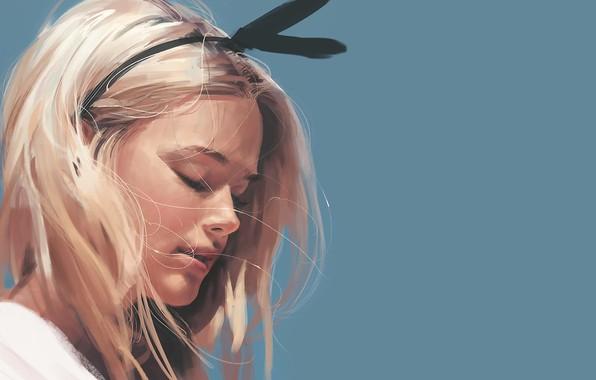 Картинка лицо, блондинка, art, голубой фон, ободок, закрытые глаза, портрет девушки, Kyrei0201