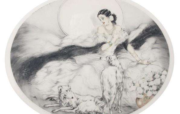 Картинка собаки, цветы, 1927, арт-деко, Луи Икар, Дама с камелиями
