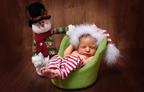 Картинка игрушка, доски, сон, кресло, малыш, снеговик, ребёнок, колпак, младенец