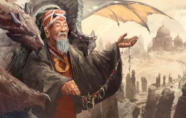 Картинка fantasy, old, man, artist, asian, digital art, artwork, fantasy art, elder, dragons, necklace, master, dome, ...