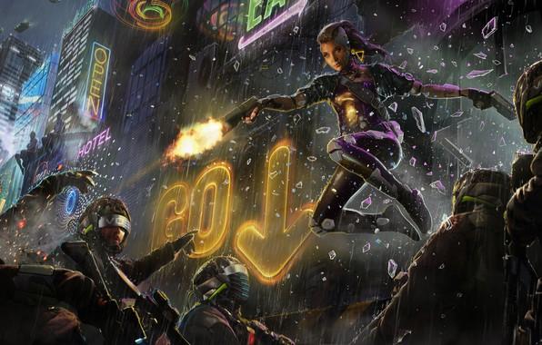 Картинка девушка, ночь, город, пистолет, фантастика, дождь, полиция, арт, очки, шлем, вывеска, спецназ, cyberpunk