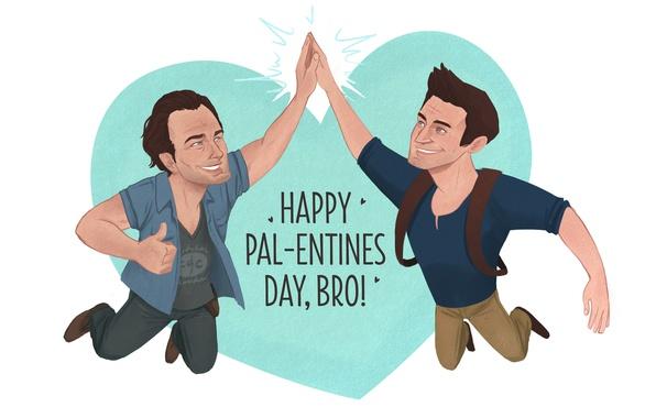 Картинка Valentine's Day, Uncharted, Naughty Dog, 2015, Nate and Sam