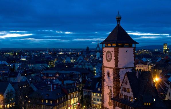 Картинка ночь, огни, башня, Германия, панорама, Баден-Вюртемберг, Фрайбург