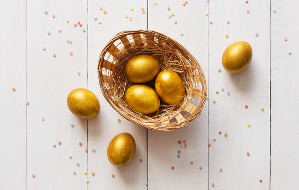 Картинка золото, праздник, корзина, яйца, пасха