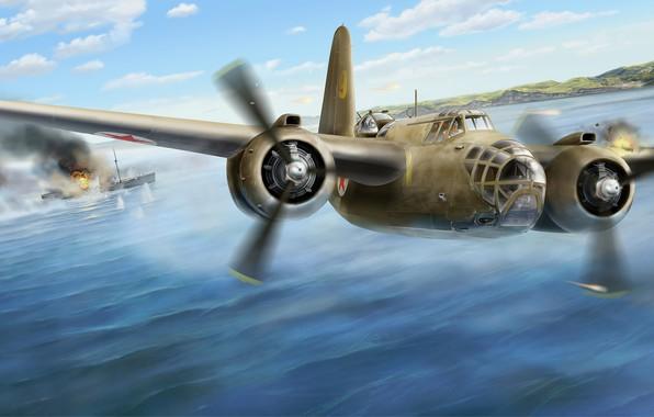 Картинка арт, Великая Отечественная война, Douglas, WW2, лёгкий бомбардировщик, Торпедоносец, ВВС РККА, A-20 Havoc/DB-7Boston
