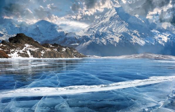Картинка горы, природа, озеро, арт, Matte Painting, Виктор Руденко