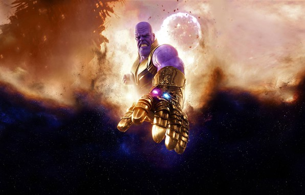 Картинка космос, фон, фантастика, звёзды, комикс, MARVEL, Thanos, Танос, Avengers: Infinity War, Мстители: Война бесконечности