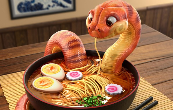 Картинка еда, змея, арт, суп, ресторанчик, лапша, Snake - Danger Noodles, Michael Santin, удон, Udon