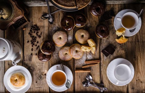 Картинка чай, еда, шоколад, пирог, пончики, корица, кофейные зерна, выпечка, глазурь, сахарная пудра