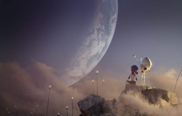 Картинка рендеринг, фантастика, планета, арт, андроид, детская, 3D, 2D, Glenn Melenhorst, A.Woo. Planet