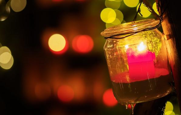 Картинка свеча, банка, Christmas lights