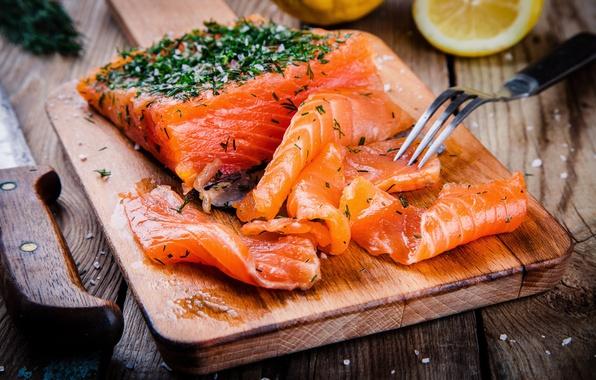 Картинка зелень, лимон, рыба, доска, fish, специи, spice, seafood