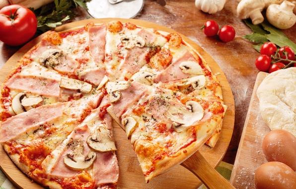 Картинка грибы, сыр, пицца, помидор, ветчина