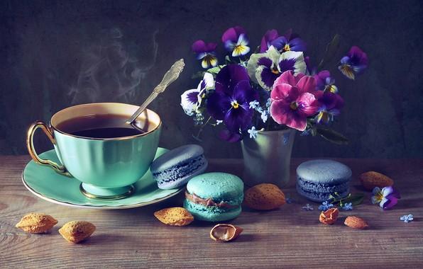 Картинка цветы, кофе, чашка, орехи, анютины глазки, пирожные, миндаль, незабудки, фиалки, вазочка, макарон, Анастасия Соловьёва, Anastasia …