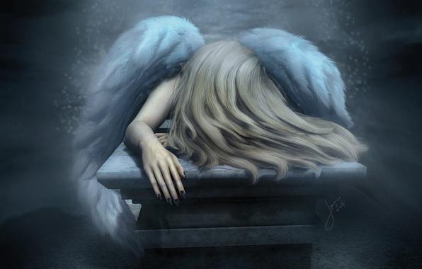 Картинка грусть, настроение, волосы, крылья, ангел