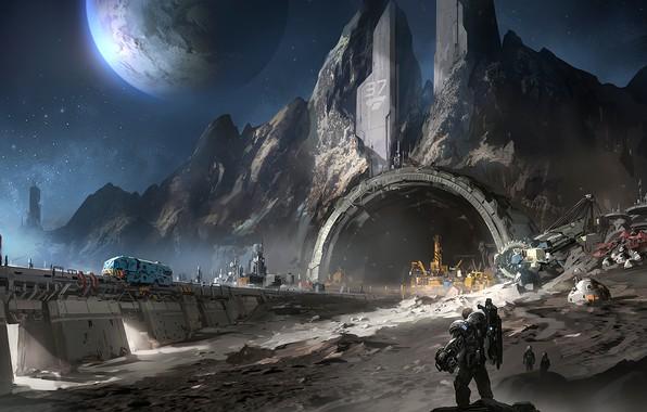 Картинка fantasy, Space, stars, man, planet, digital art, artwork, fantasy art, futuristic, mine, mining, convoy