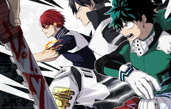 Картинка аниме, парни, Boku no Hero Academia, Моя геройская академия, Мидория Изуку, Тодороки Шото