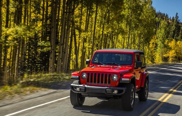 Картинка дорога, зелень, деревья, красный, разметка, обочина, 2018, Jeep, Wrangler Rubicon