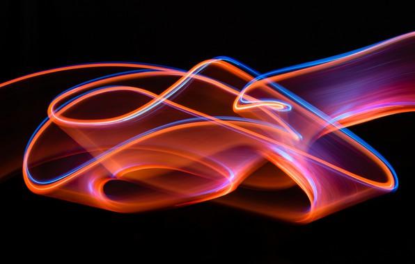 Картинка абстракция, полосы, темный фон, узор, яркость