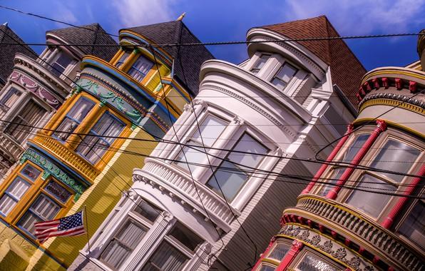 Картинка провода, окна, здания, дома, флаг, Калифорния, Сан-Франциско, California, San Francisco, Haight-Ashbury, Хейт-Эшбери
