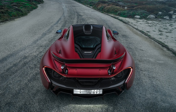 Фото обои дорога, красный, McLaren, red, supercar, Суперкар, МакЛарен, P1