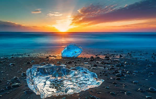 Картинка лед, море, закат, берег, Исландия