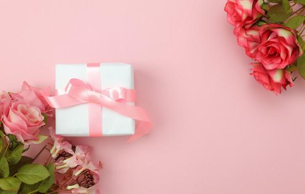 Картинка любовь, фон, розовый, подарок, розы, букет, love, pink, romantic, hearts, valentine's day, gift, roses
