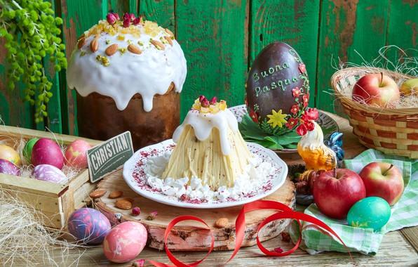 Картинка цветы, яблоки, яйца, Пасха, кулич, петух, крашенки