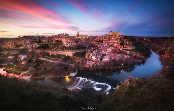 Картинка небо, город, огни, вечер, Испания, Толедо, река Тахо
