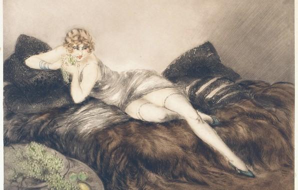 Картинка лимон, яблоки, виноград, Фрукт, 1926, Louis Icart, арт-деко