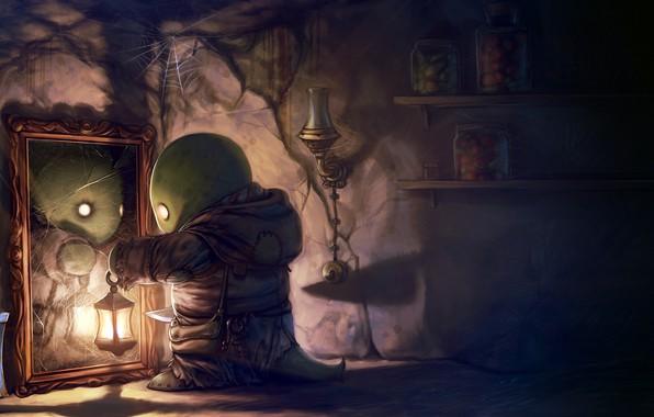 Картинка fantasy, game, Final Fantasy, monster, cat, digital art, artwork, knife, lamp, fantasy art, lantern, mirror, …