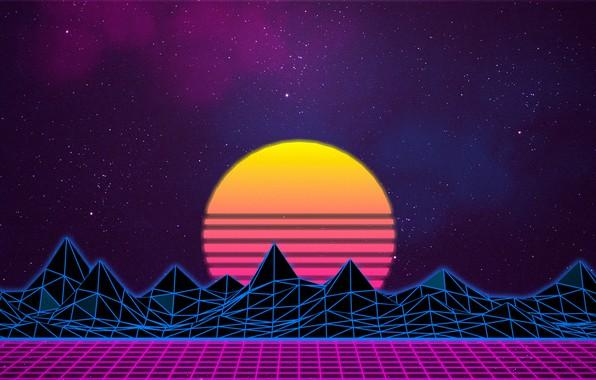 Картинка Солнце, Небо, Горы, Музыка, Звезды, Неон, Космос, Графика, Synthpop, 80's, Synth, Синти-поп, Синти
