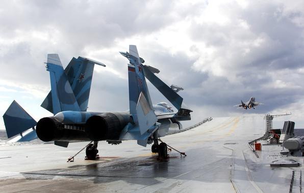 Картинка палуба, палубный истребитель, Су-33, Адмирал Кузнецов