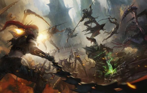 Картинка battle, Warhammer 40 000, tyranids, dark eldar, drukhari
