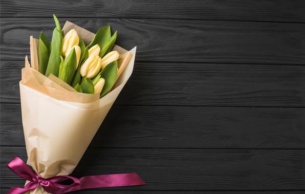 Картинка цветы, букет, лента, тюльпаны, yellow, wood, flowers, romantic, tulips, spring