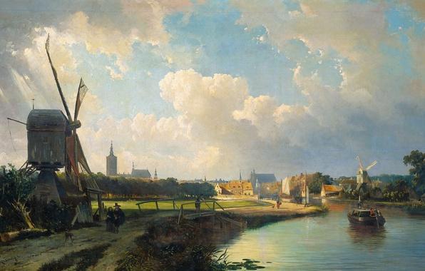 Картинка пейзаж, масло, картина, ветряная мельница, Каспар Карсен, Вид на Гаагу от Делфта