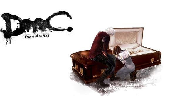 Картинка пустота, прощание, гроб, двое, слёзы, скорбь, Nero, Devil May Cry, на коленя, Дьявол может плакать, …