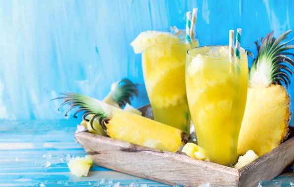 Картинка лед, сок, стаканы, ананас, фреш, трубочки