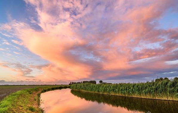 Картинка поле, облака, канал, Нидерланды