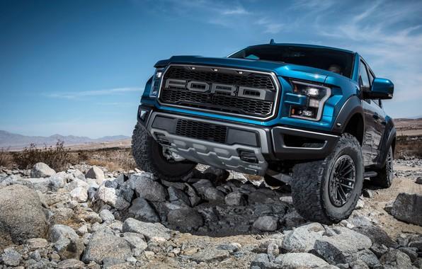 Картинка Ford, вид спереди, Raptor, пикап, F-150, SuperCrew, 2019